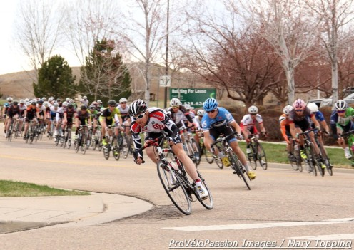Julian Kyer (Bissell) leads the Pro 1 2 field in the Louisville Criterium