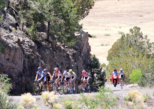 Leaders near the finish at Mogollon in Stage 1 of the 2012 Tour of the Gila