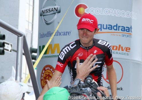 Tejay van Garderen greets people at the 2012 USA Pro Challenge final podium in Denver