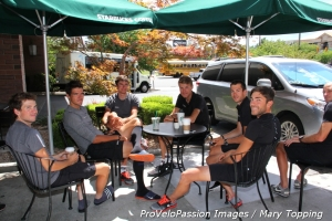BMC boys at Starbucks before racing the Salt Lake City circuit