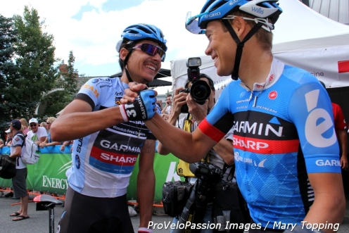 Lachlan Morton and Tom Danielson celebrate after Danielson wins the 2013 Tour of Utah