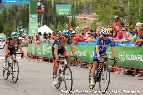 Lucas Euser, George Bennett, and Matthew Busche (r to l) arrive at Snowbird 5th, 4th, and 6th