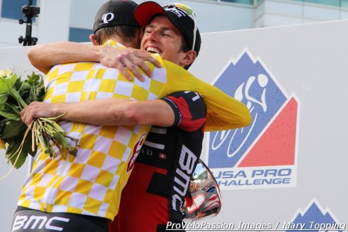 Winner Tejay van Garderen thanks teammate Mathias Frank on the 2013 USA Pro Challenge podium in Denver, Colorado
