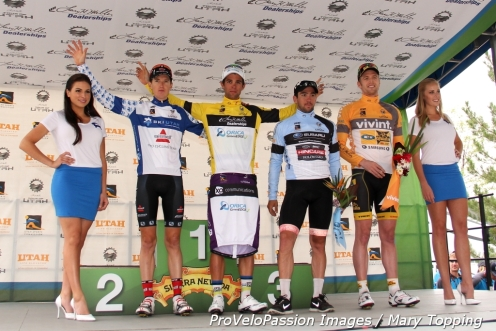 Tour of Utah Stage 2 jersey holders (l - r) Michael Torckler, Michael Matthews, Ty Magner, Martin Wesemann)