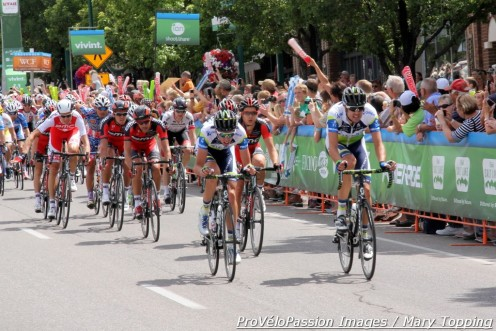 Damien Howson (center) at the front in the Cedar City, Utah finishing circuit, 2013 Tour of Utah stage 1