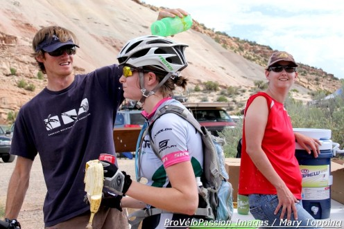 Melissa Ross gets a personalized water break 29 miles into the Grand Junction Off-Road pro race