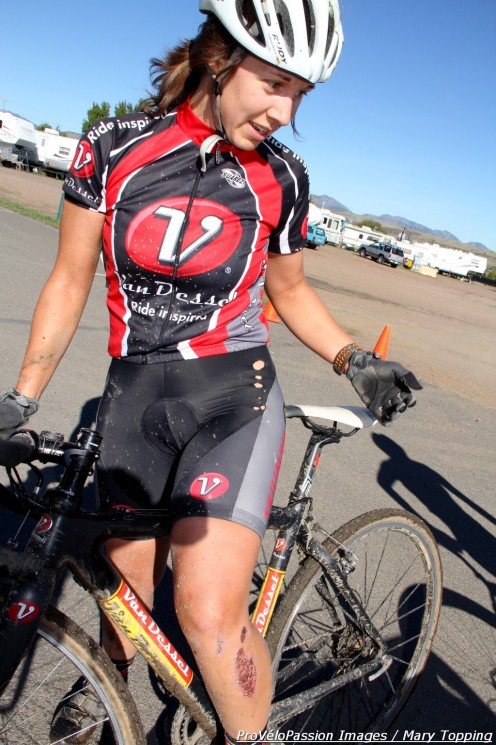 Rebecca Blatt (Van Dessel Sports) post-race at Primalpalooza. She rode a carbon frame Van Dessel Full Tilt Boogie.