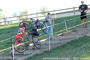 Robin Eckmann and Chris Baddick on the stairs with one to go