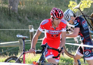Robin Eckmann pushes the bike in a set of sharp turns