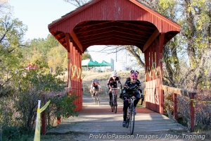 """Kitty"" Margell Abel coming off the covered bridge on the Zombie Cross course"