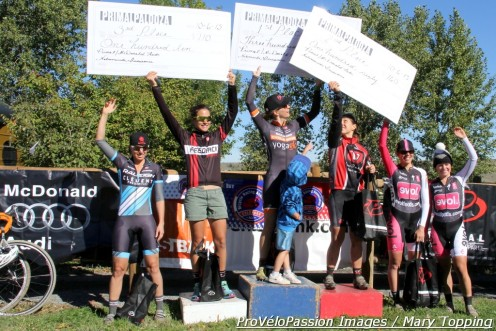 Primalpalooza women's open podium (l-r) Rebecca Gross (Raleigh-Clement) 5th, Caitlyn Vestal (Feedback Sports) 3rd, Kristin Weber (Boulder Cycle Sport) 1st, Rebecca Blatt (Van Dessel Sports) 2nd, Jess D'Amato (Evol Foods) 4th