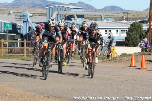 Rebecca Gross (Raleigh-Clement) took the holeshot with aggressive group including Ksenia Lepikhina, Kristen Weber (Boulder Cycle Sport), and Margell Abel (Tough Girl)