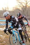 Colby Pearce (left) riding with Garrett Gerchar