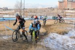 Single Speed race: Jesse Swift (right) takes the outside line