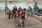 Ken Benesh, leader of the CO Cross Cup, at the front of a group on thestairs