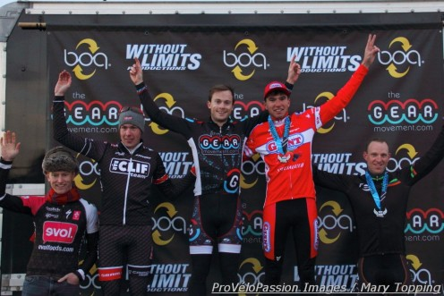 Cyclo-X Westminster men's elite podium (l-r) Spencer Powlison 4th, Maxx Chance 3rd, Chris Baddick 1st, Robin Eckmann 2nd, Steven Stefko 5th