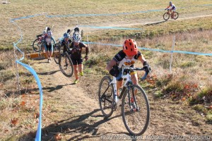 "Ann Trombley at the front climbing out of the ""Bowl of Death"" in lap two"