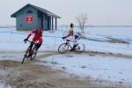 Robin Eckmann and Spencer Powlison on a winterbeach