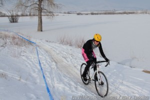 Kristen Peterson en route to her first elite cyclocross win