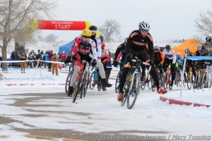 First turn in the men's elite race at Cyclo-X Boulder Reservoir