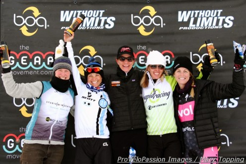 2013 Cyclo-X women's elite series overall top 5 (l - r): Melissa Barker 4th, Judy Freeman 2nd, Kristin Weber 1st, Kristal Boni 3rd, Kristen Peterson 5th
