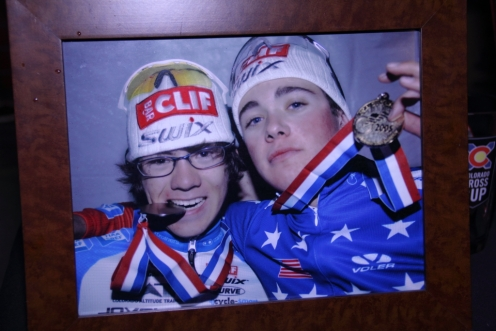 Alex Howes and Danny Summerhill (l-r) at 2005 cyclocross national championships (photo displayed at Clif Bar Devo event in Boulder)