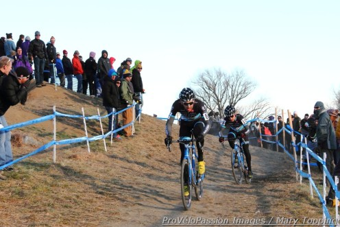Jamey Driscoll and Allen Krughoff leave Pete's Plunge for the last time at 2014 cyclocross nationals