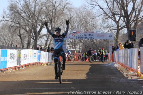 Rebecca Gross becomes the new women's 30 - 34 national champion, in Valmont Bike Park