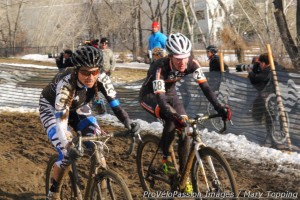 Kristin Weber passes Lauren Costantini at 2014 cyclocross nationals, 40 - 44 race