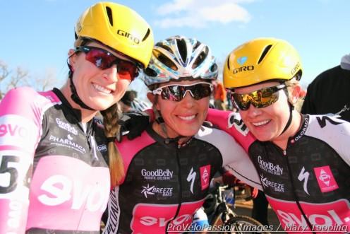 Evol Foods teammates (l - r) Kristen Peterson, Jess D'Amato, Kate Powlison