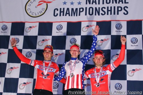 U23 2014 U.S. cyclocross national championships podium (l - r) Yannick Eckmann 2nd, Logan Owen 1st, Cody Kaiser 3rd