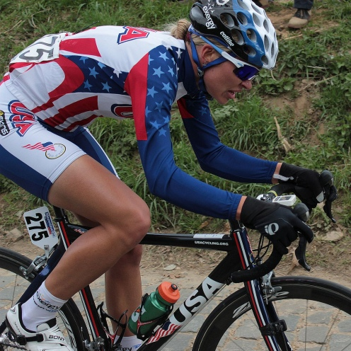 Tayler Wiles riding for Team USA at the 2012 Tour of Flanders