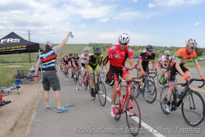 Gage Hecht picks up a feed mid-way through the Superior Morgul Classic road race