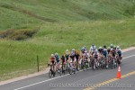 Early in lap one of the road race the women's pro-1-2 and Masters 35+ groups rode as onepack