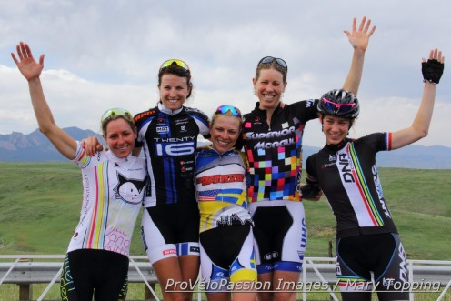 Superior Morgul road race women's pro-1-2 podium (l-r): Amy Charity 4th, Abby Mickey 3rd, Flavia Oliveira 1st, Alison Powers 2nd, Heather Fischer 5th