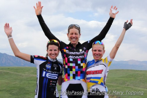 Women's pro-1-2 final omnium podium in the 2014 Superior Morgul Classic (l-r): Abby Mickey 3rd, Alison Powers 1st, Flavia Oliveira 2nd