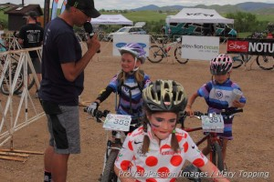 Larry Grossman interviews a Beti Bike Bash junior competitor
