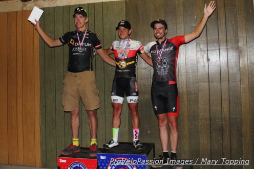 Deer Trail elite men's podium (l-r): Tom Zirbel 2nd, Fabio Calabria 1st, Nick Bax 3rd and state champion