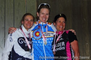 2014 Colorado state road championships elite women's podium (l-r) Annie Toth 2nd, Gwen Inglis 1st, Heather McWilliams third