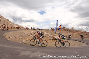 Emerson Oronte leads another rider into the finish at the 2014 Mt. Evans hill climb