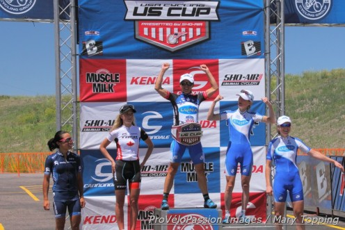 2014 US Cup Pro Series final overall podium (l-r) Evelyn Dong 5th, Emily Batty 3rd, Katerina Nash 1st, Catherine Pendrel 2nd, Georgia Gould 4th