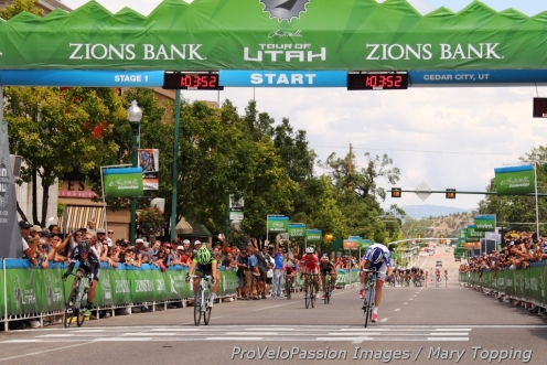 Alison Powers wins the 2014 Cedar City Grand Prix ahead of Samantha Schneider and Tina Pic