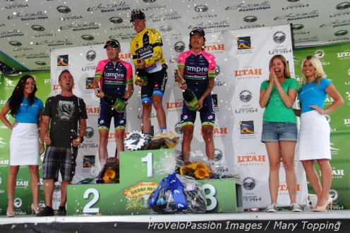 2014 Tour of Utah overall podium (l-r): Chris Horner 2nd, Tom Danielson 1st, Winner Anacona Gomez 3rd
