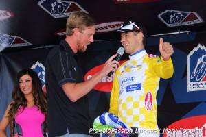 Brad Sohner interviews Kiel Reijnen after Stage 1, 2014 USA Pro Challenge