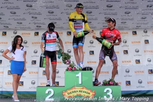 Final 2013 Tour of Utah overall podium: Chris Horner 3rd, Tom Danielson 1st, Janier Acevedo 2nd