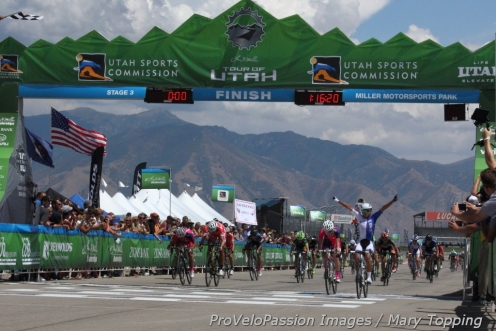 "Coryn Rivera wins the inaugural Tour of Utah Women's Edition. ""[Winning] is special because we're here for the first women's edition race."""