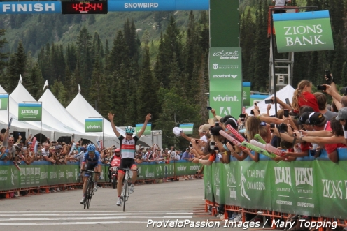 Chris Horner slipped past Tom Danielson for the Snowbird win in 2013 and took the yellow jersey from Lachlan Morton.