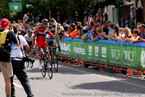 Greg Van Avermaet wins Utah's 2013 Stage 1 ahead of Michael Matthews and Ty Magner in Cedar City