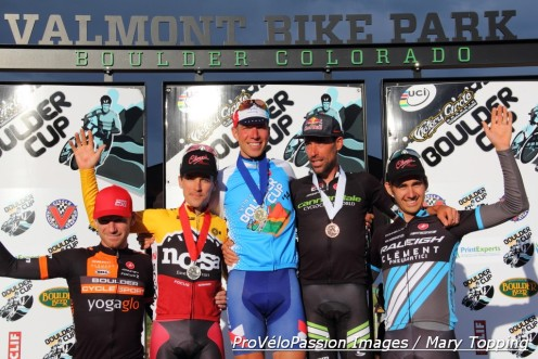 2014 Boulder Cup elite men's top five. Tim Johnson gives Jeremy Powers a squeeze.