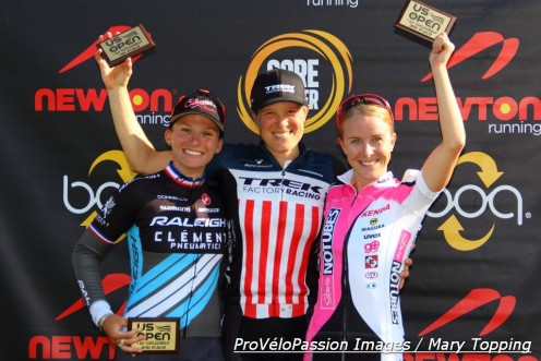 US Open of Cyclocross women's elite podium (l-r): Caroline Mani 2nd, Katie Compton 1st, Chloe Woodruff 3rd.